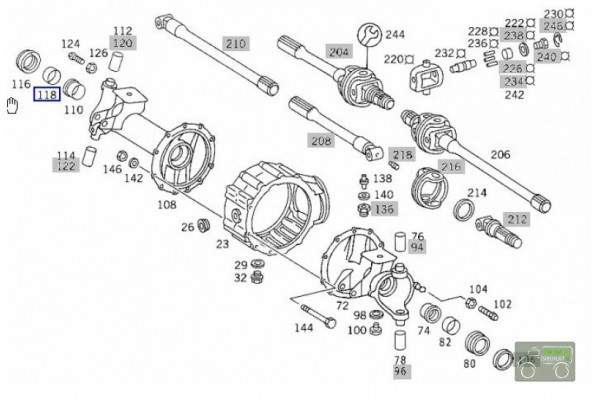 Stub shaft seal front axle